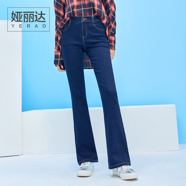 YERAD 2018 Spring Slim Fit Flare Jeans for Woman Fashion Bell Bottom Pants Vintage Office Lady Denim Trousers