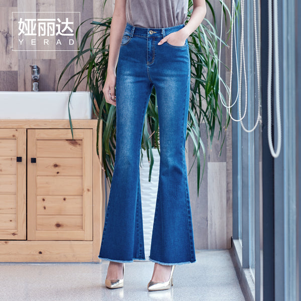 YERAD 2018 Spring Slim Fit Flare Jeans for Woman Fashion Bell Bottom Pants Vintage Office Lady Denim Trousers - elatestore