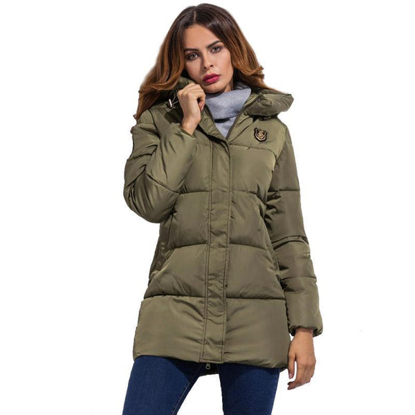 New Arrival Women Jackets Autumn Winter Basic Jackets Fashion Long Style Down Jacket Hooded Coat Padded zipper Outwear - elatestore