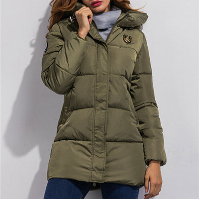 New Arrival Women Jackets Autumn Winter Basic Jackets Fashion Long Style Down Jacket Hooded Coat Padded zipper Outwear