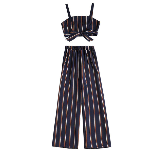 Elegant Bow Knot Cropped Top Stripe Long Pant Halter Strap Trousers - elatestore