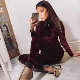 Chic Velvet Velour Casual Tracksuit Set - elatestore