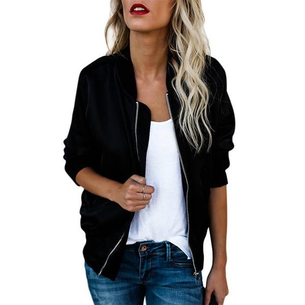 autumn Women Thin Jackets Tops Basic Bomber Jacket Long Sleeve Coat Casual Stand Collar Slim Fit Outerwear - elatestore