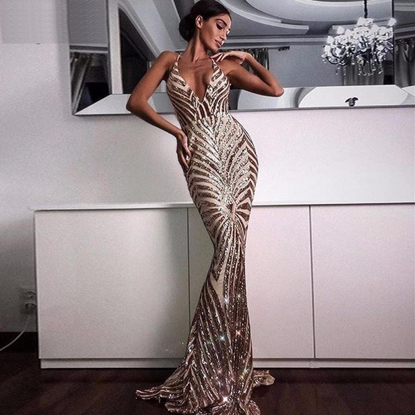 Maria Sexy Sequined Mermaid Backless Dress