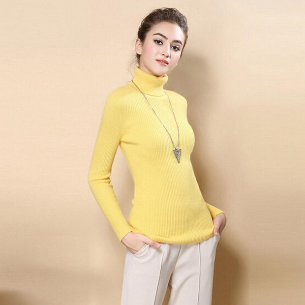 Women Sweater Turtleneck Pullover Tops Solid Cashmere Sweater - elatestore