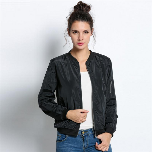 Fashion Bomber Jacket Long Sleeve Basic Casual Thin Slim Outerwear Short Jacket - elatestore