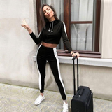 Stylish Striped Crop Top Sweat-shirts Tracksuit Set Sport Outfit-elatestore -elatestore