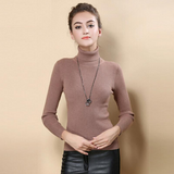 Women Sweater Turtleneck Pullover Tops Solid Cashmere Sweater-elatestore-elatestore