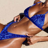 Pamela Royal Blue Sexy Sequins Bikini Swimsuit-elatestore -elatestore