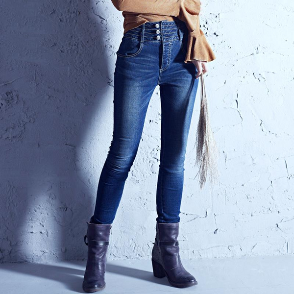 Casual Light Washed Elastic Skinny Straight Jeans