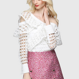 Sexy Hollow Out Lace One Shoulder Ruffles Blouse-elatestore -elatestore