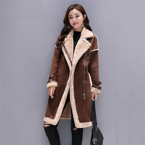 Suede Leather Long Coat Faux Sheepskin Windbreakers Overcoat-elatestore -elatestore