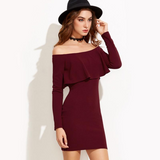 Women Sexy Party Off Shoulder Ruffle Bodycon Dress-elatestore-elatestore