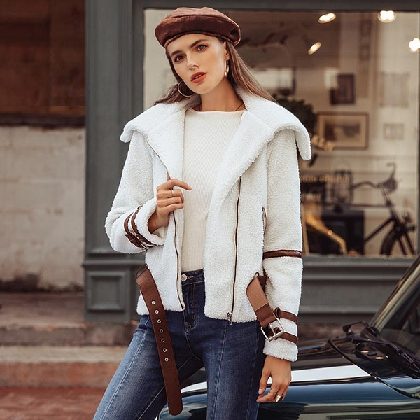 Women Coat Parka Sash Shaggy White Thick Warm Down Jacket Streetwear-elatestore -elatestore