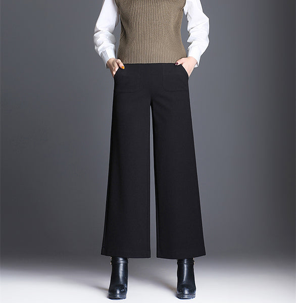 plus size Wide Leg Pants Women Elegant Casual woolen Wide Trousers Women Pantalon Mujer High elastic Waist Womens Pants 2018-elatestore -elatestore