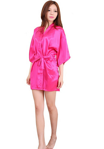 Women Silk Satin Short Night Robe Solid Kimono Robe Fashion Bath Robe Sexy  Bathrobe Peignoir Wedding 398bb8e57