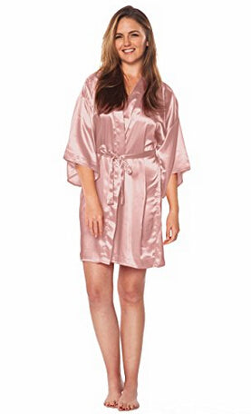 ... Women Silk Satin Short Night Robe Solid Kimono Robe Fashion Bath Robe  Sexy Bathrobe Peignoir Wedding ... 8adbdbcd5