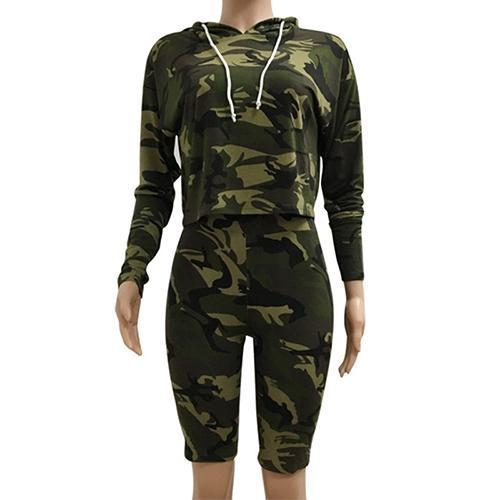 Casual Style 2 Piece Hooded Jumpsuit Short Pants Camouflage Printed Long Sleeve Romper - elatestore