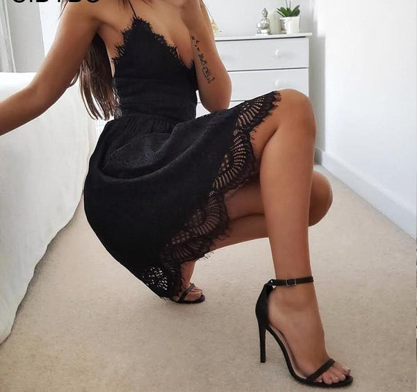 Sexy Backless Spaghetti Strap Lace Dress-elatestore-elatestore