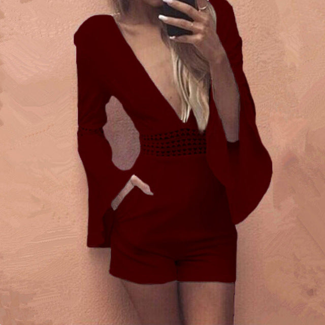 ba89771fab2c ... Women Summer White Short Sexy Rompers Jumpsuit Deep V Neck Long Flare  Sleeve Beach Party Playsuits ...