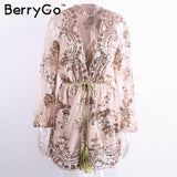 Berrygo Deep V Sequin Playsuit Women Tassel Short Mesh Bodysuit Summer Beach Club Elegant Jumpsuit Rompers Embroidery Leotard - elatestore