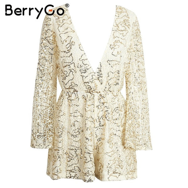 Berrygo Sexy Lace Gold Sequin Jumpsuit Romper Women Hollow Out Long Flare Sleeve Overalls Summer 2019 Deep V Neck Black Playsuit - elatestore