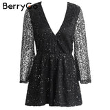 BerryGo Sexy lace gold sequin jumpsuit romper Women hollow out long flare sleeve overalls Summer 2017 deep v neck black playsuit - elatestore