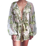 CWLSP Autumn Gold Sequin Embroidery Playsuits Boho mesh Sleeve Deep V neck Playsuit Flower Bodysuit Women Rope Sashes Rompers