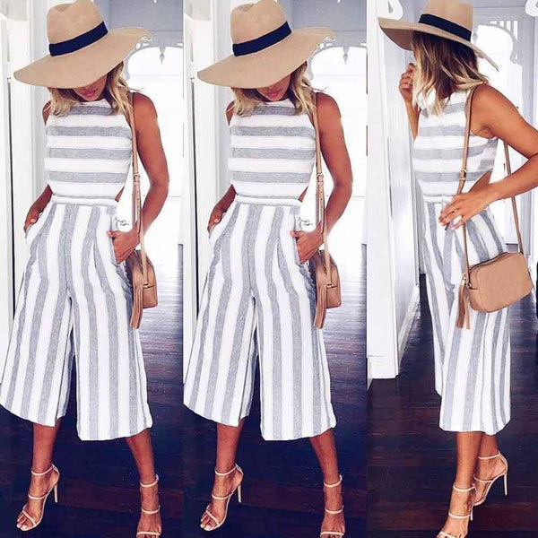 2017 Women's Sleeveless Striped Jumpsuit Casual Loose Trousers Fashionable Leotard Catsuit Combinaison Wide Leg Pants - elatestore