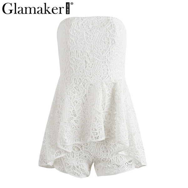 Glamaker White lace off shoulder floral jumpsuit romper Women elegant slash neck playsuit Summer sexy chic female overalls