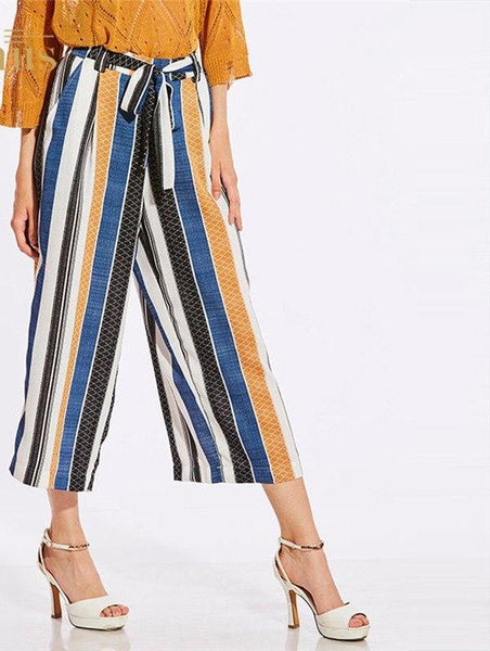 Woman Causal Sashes Striped Bowknot Trousers Wide Leg Pants Trousers