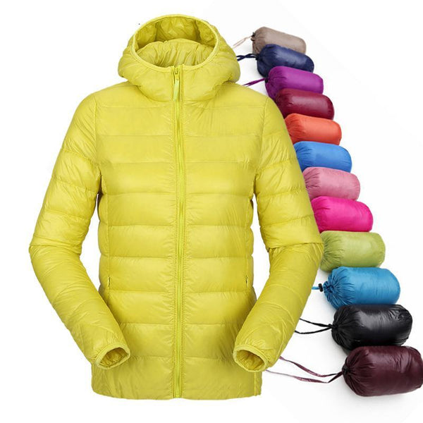 Women Coat Ultralight Down Hooded Jacket Duck Down Parka-elatestore-elatestore