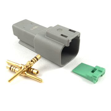 Deutsch DT 2-Way Pin Connector Kit, 20-16 AWG Gold Contacts