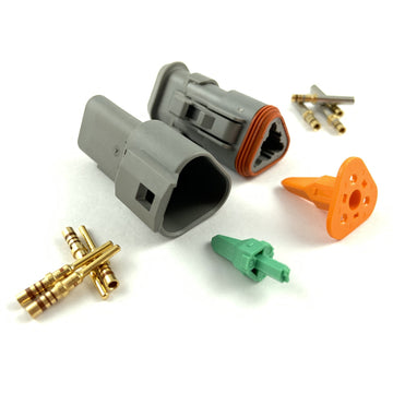 Mated Deutsch DT 3-Pin Connector Kit, 20-16 AWG Solid Contacts