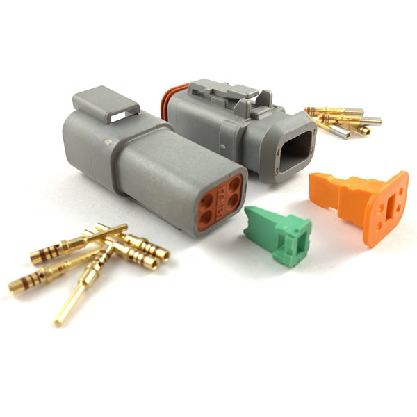 Mated Deutsch DT 4-Pin Connector Plug Kit, 20-16 AWG Gold Solid Contacts