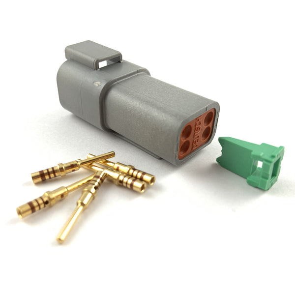 Deutsch DT 4-Way Pin Connector Kit, 20-16 AWG Gold Contacts