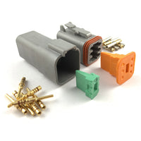 Mated Deutsch DT 6-Pin Connector Kit, 20-16 AWG Gold Solid Contacts