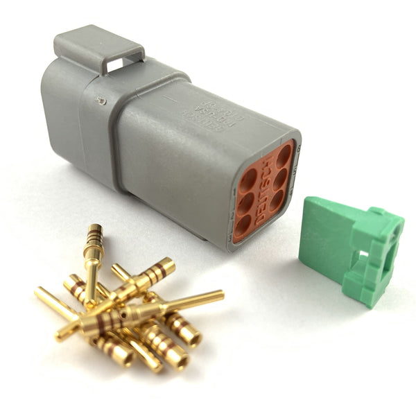 Deutsch DT 6-Way Pin Connector Kit, 20-16 AWG Gold Contacts