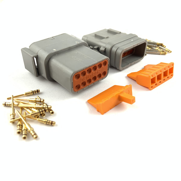Mated Deutsch DTM 12-Pin Connector Plug Kit, 24-20 AWG Gold Contacts