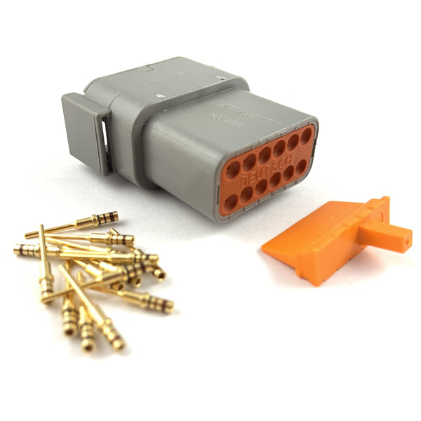 Deutsch DTM 12-Way Pin Connector Kit, 24-20 AWG Gold Contacts