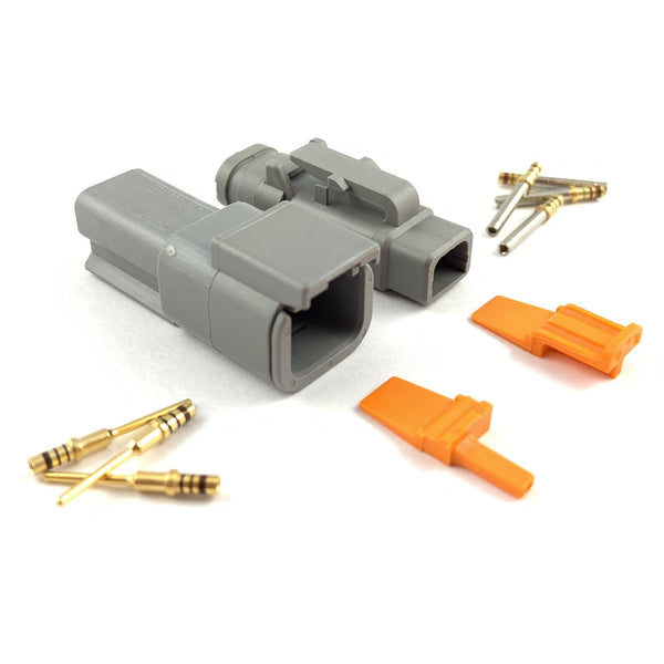 Mated Deutsch DTM 2-Pin Connector Kit, 24-20 AWG Gold Solid Contacts