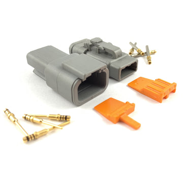 Mated Deutsch DTM 3-Pin Connector Kit, 24-20 AWG Gold Solid Contacts