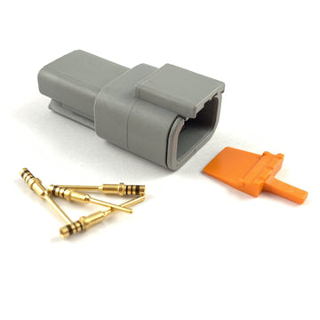 Deutsch DTM 3-Way Pin Connector Kit, 24-20 AWG Gold Contacts