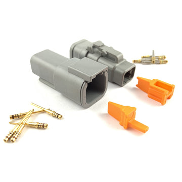 Mated Deutsch DTM 4-Pin Connector Kit, 24-20 AWG Gold Solid Contacts