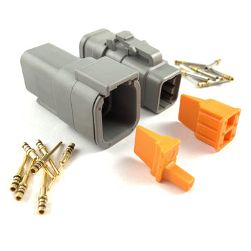 Mated Deutsch DTM 6-Pin Connector Plug Kit, 24-20 AWG Gold Contacts