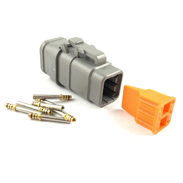 Deutsch DTM 6-Way Socket Connector Kit, 24-20 AWG Gold Contacts