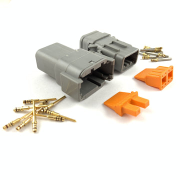 Mated Deutsch DTM 8-Pin Connector Plug Kit, 24-20 AWG Gold Contacts