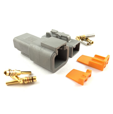 Mated Deutsch DTP 2-Pin Connector Plug Kit, 14-12 AWG Gold Contacts