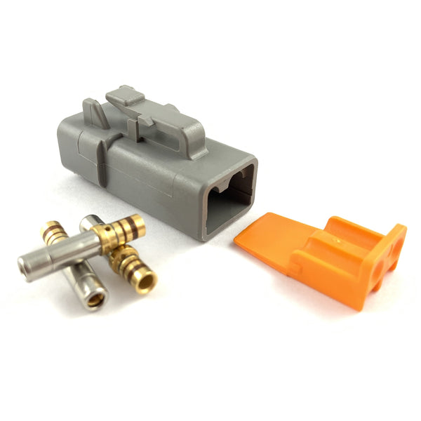 Deutsch DTP 2-Way Socket Connector Kit, 14-12 AWG Gold Contacts
