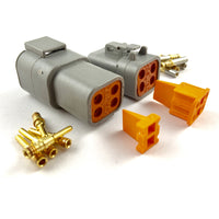 Mated Deutsch DTP 4-Pin Connector Plug Kit, 14-12 AWG Gold Contacts